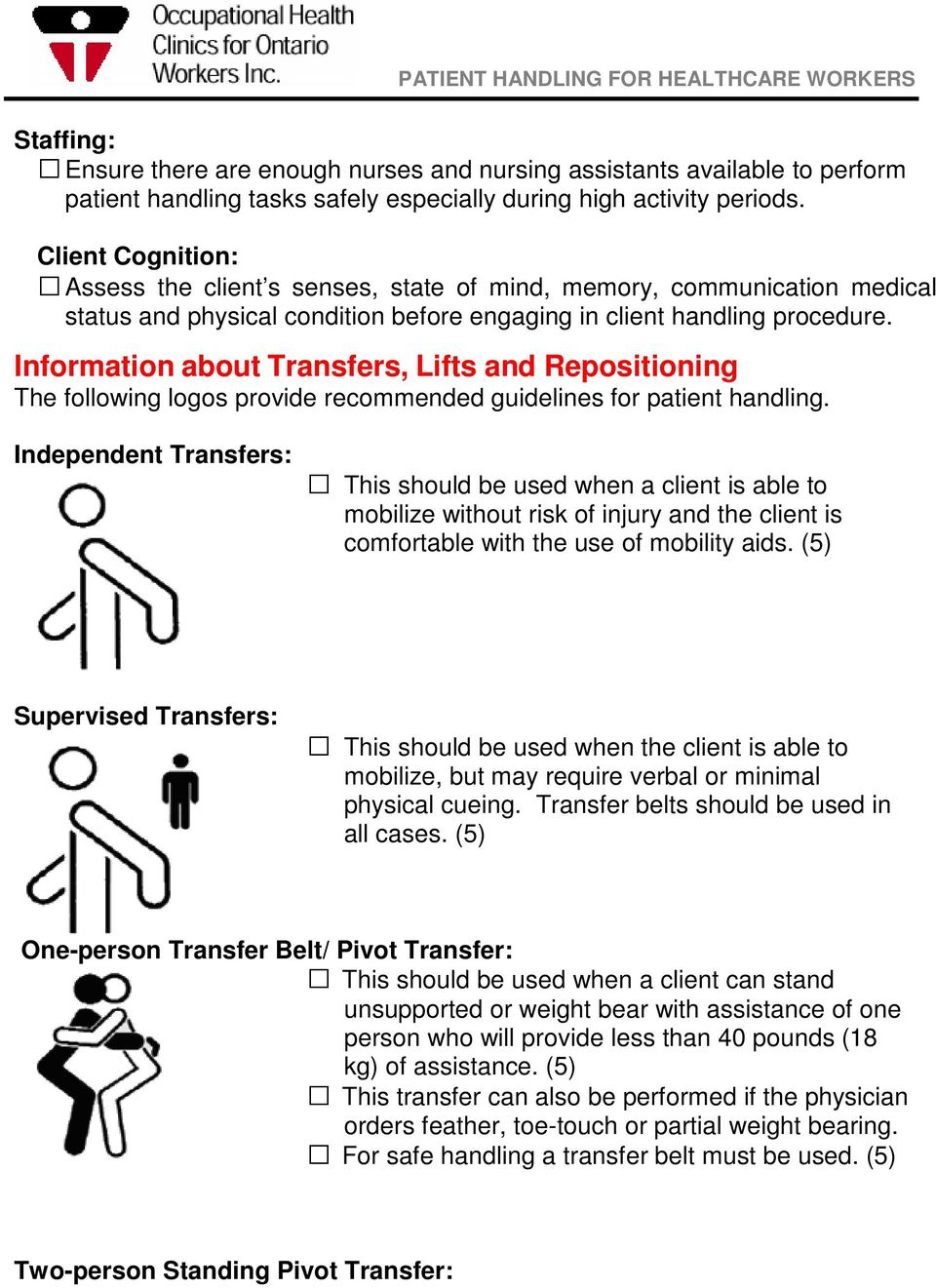 Information about Transfers, Lifts and Repositioning The following logos provide recommended guidelines for patient handling.