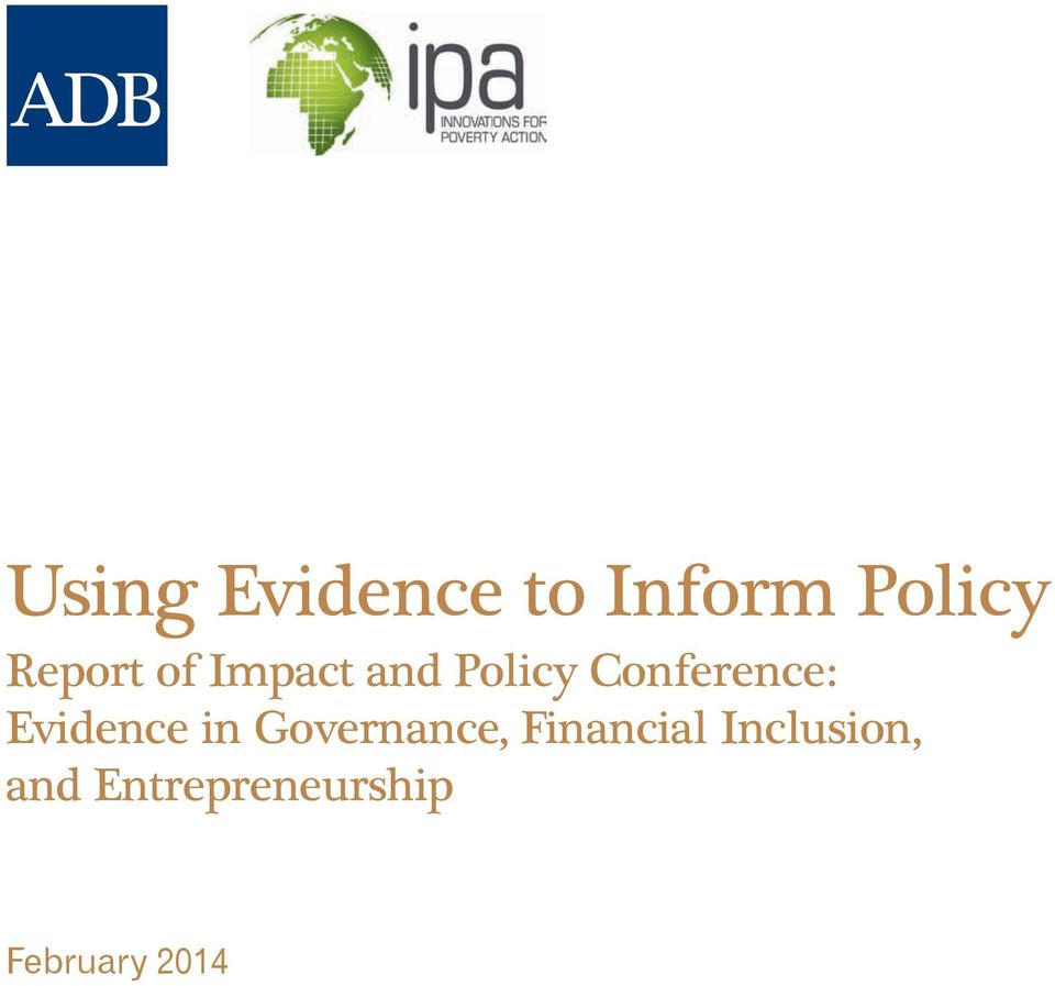 Conference: Evidence in Governance,