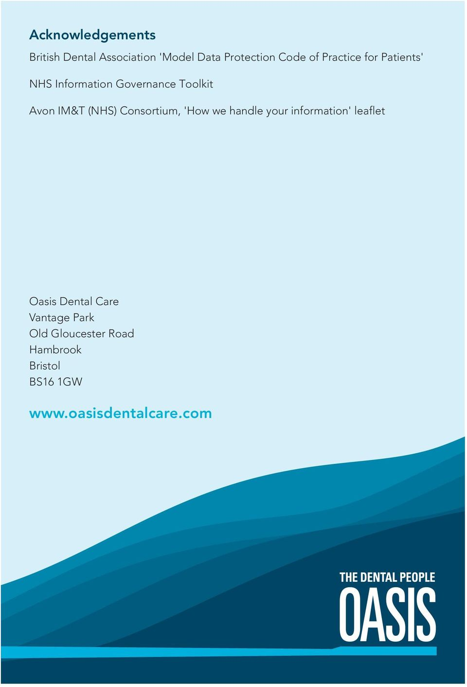 Consortium, 'How we handle your information' leaflet Oasis Dental Care