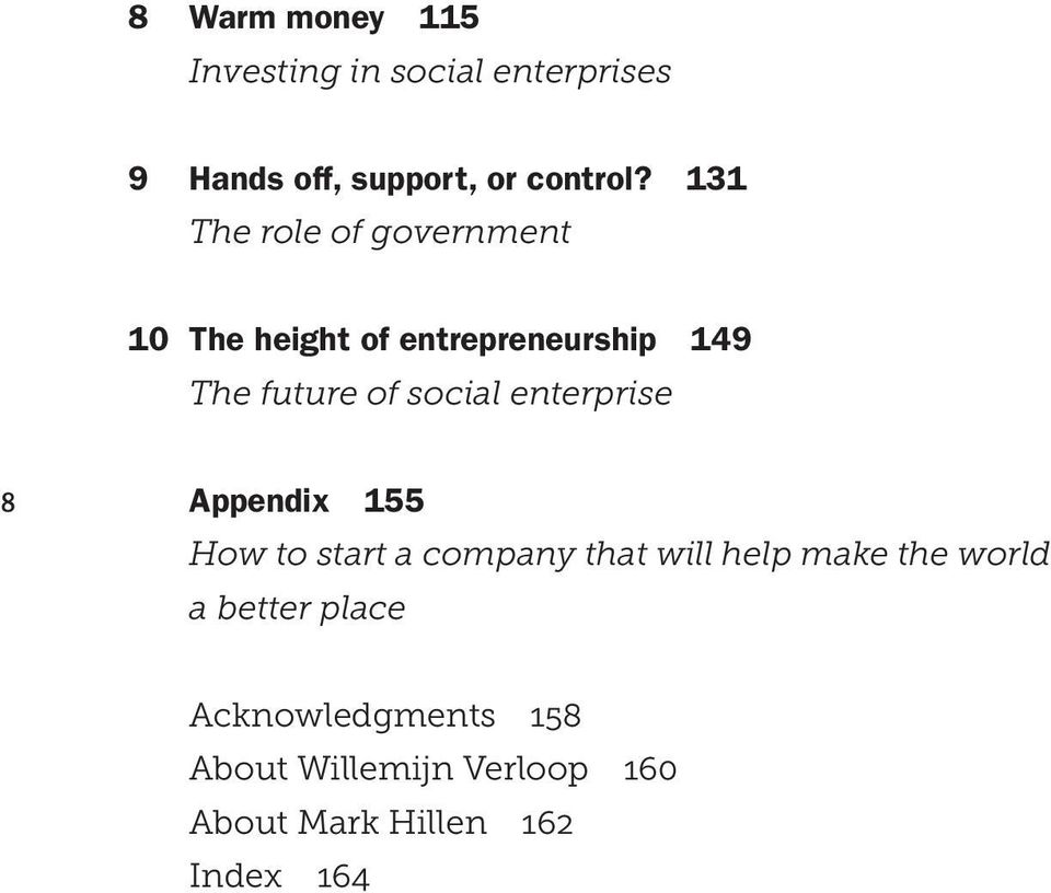 enterprise 8 Appendix 155 How to start a company that will help make the world a