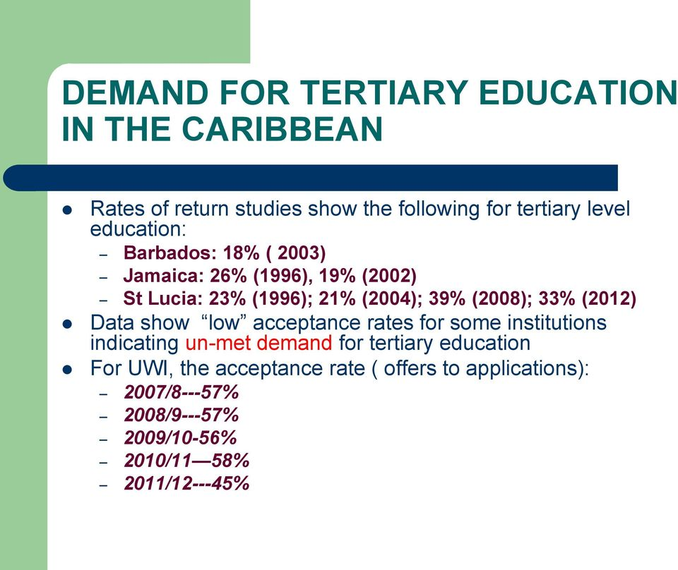 33% (2012) Data show low acceptance rates for some institutions indicating un-met demand for tertiary education