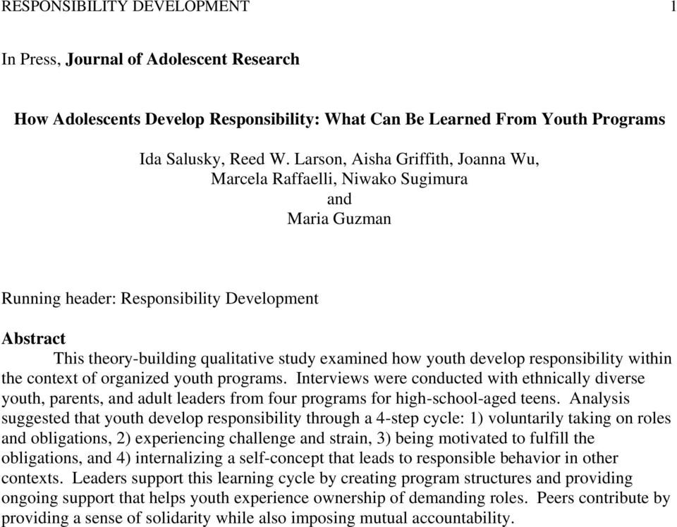 develop responsibility within the context of organized youth programs.