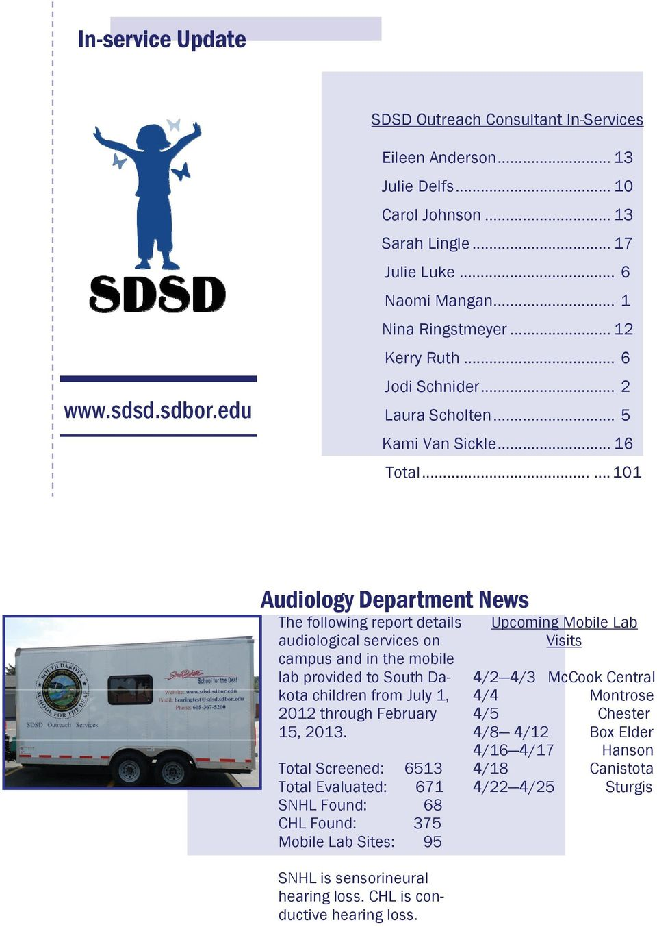 ..... 101 Audiology Department News The following report details audiological services on campus and in the mobile lab provided to South Dakota children from July 1, 2012 through February 15, 2013.