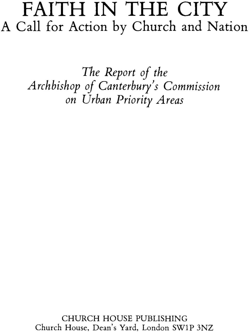 Canterbury's Commission on Urban Priority Areas
