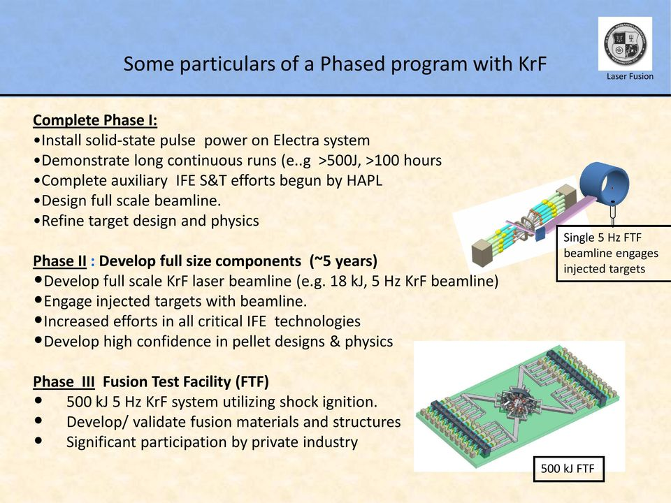 Refine target design and physics Phase II : Develop full size components (~5 years) Develop full scale KrF laser beamline (e.g. 18 kj, 5 Hz KrF beamline) Engage injected targets with beamline.