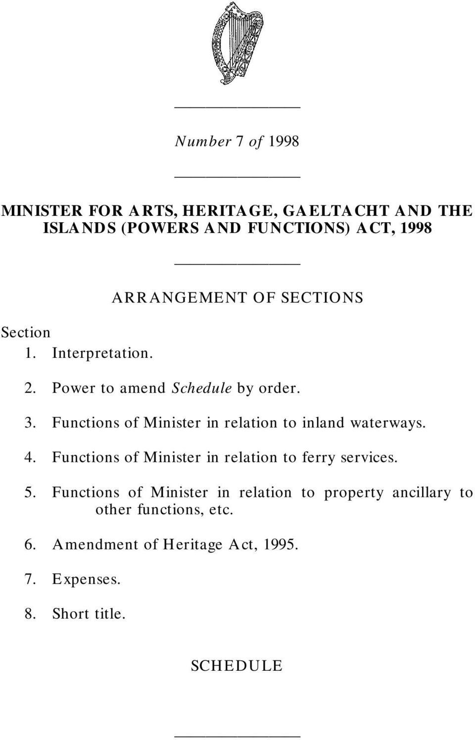 Functions of Minister in relation to inland waterways. 4. Functions of Minister in relation to ferry services. 5.