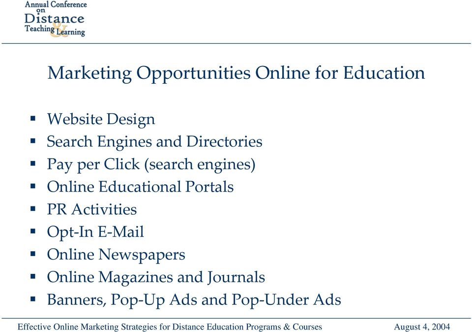 Online Educational Portals PR Activities Opt In E Mail Online