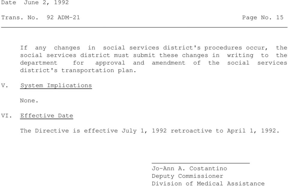 changes in writing to the department for approval and amendment of the social services district's transportation