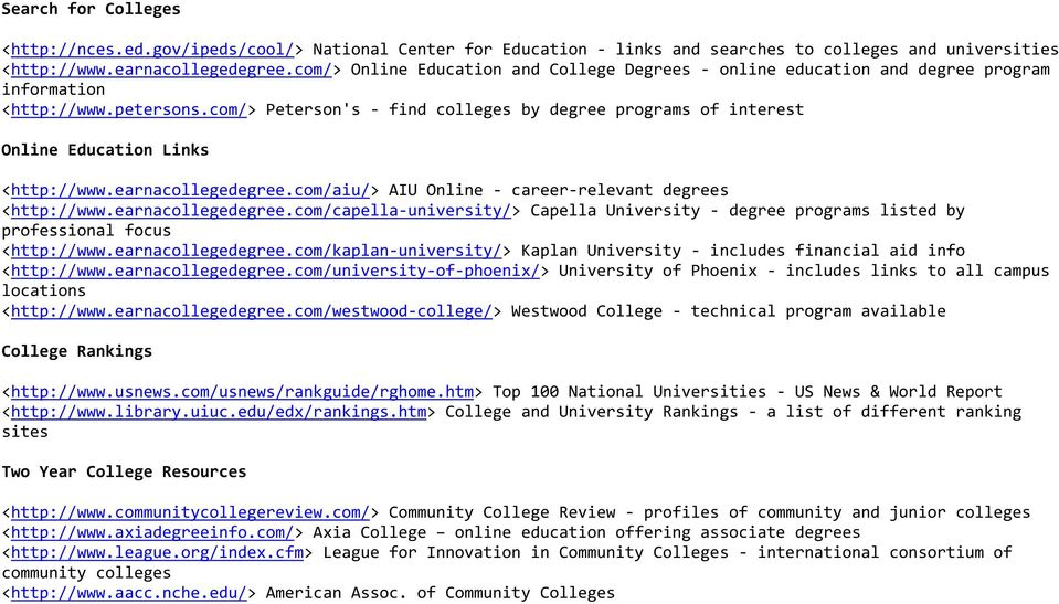 com/> Peterson's - find colleges by degree programs of interest Online Education Links <http://www.earnacollegedegree.