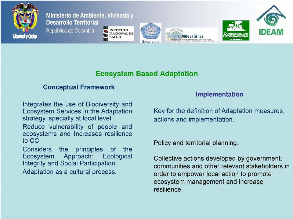 Considers the principles of the Ecosystem Approach: Ecological Integrity and Social Participation. Adaptation as a cultural process.