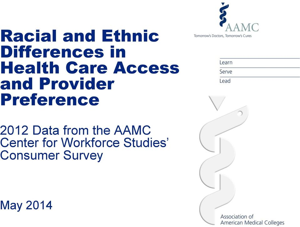 Preference 2012 Data from the AAMC