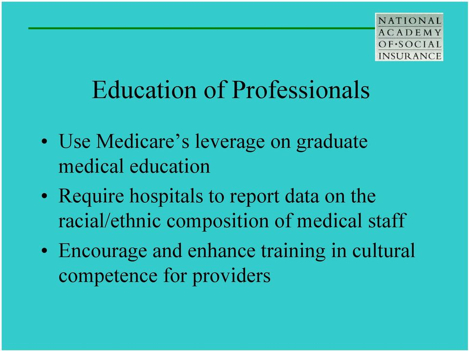 data on the racial/ethnic composition of medical staff