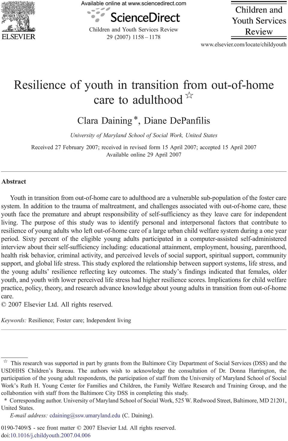 February 2007; received in revised form 15 April 2007; accepted 15 April 2007 Available online 29 April 2007 Abstract Youth in transition from out-of-home care to adulthood are a vulnerable