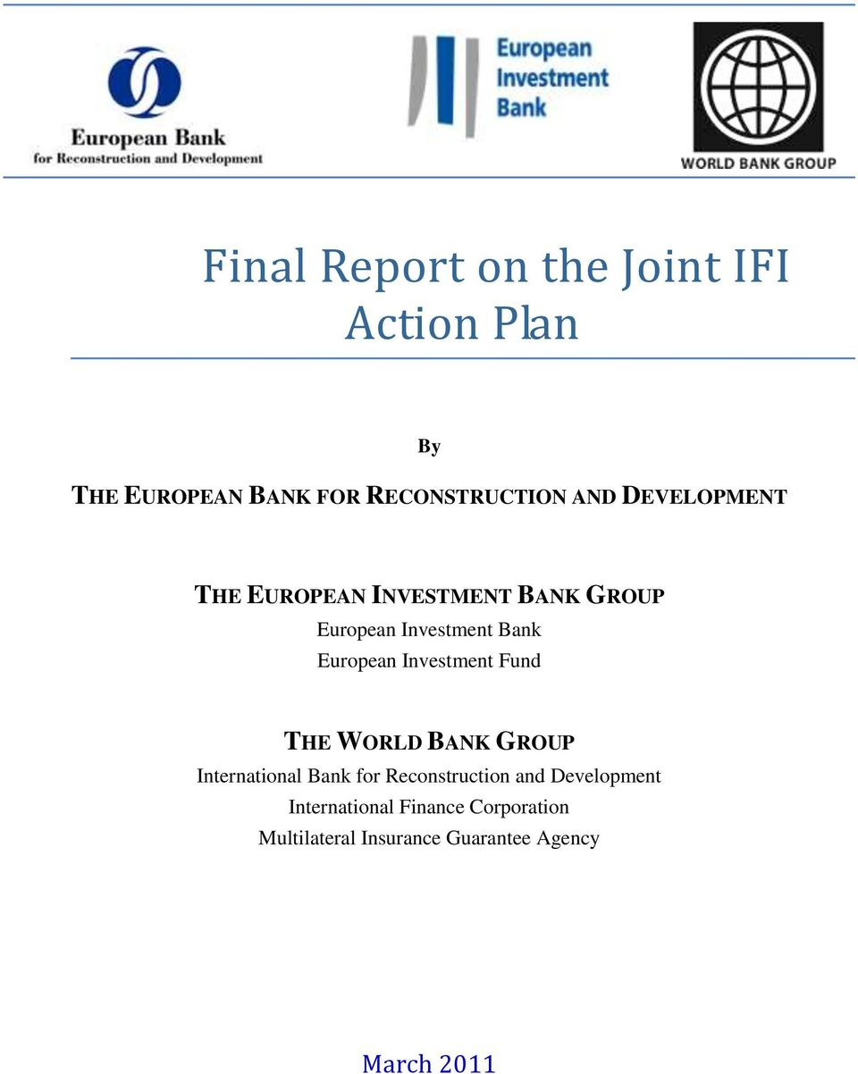 Investment Fund THE WORLD BANK GROUP International Bank for Reconstruction and