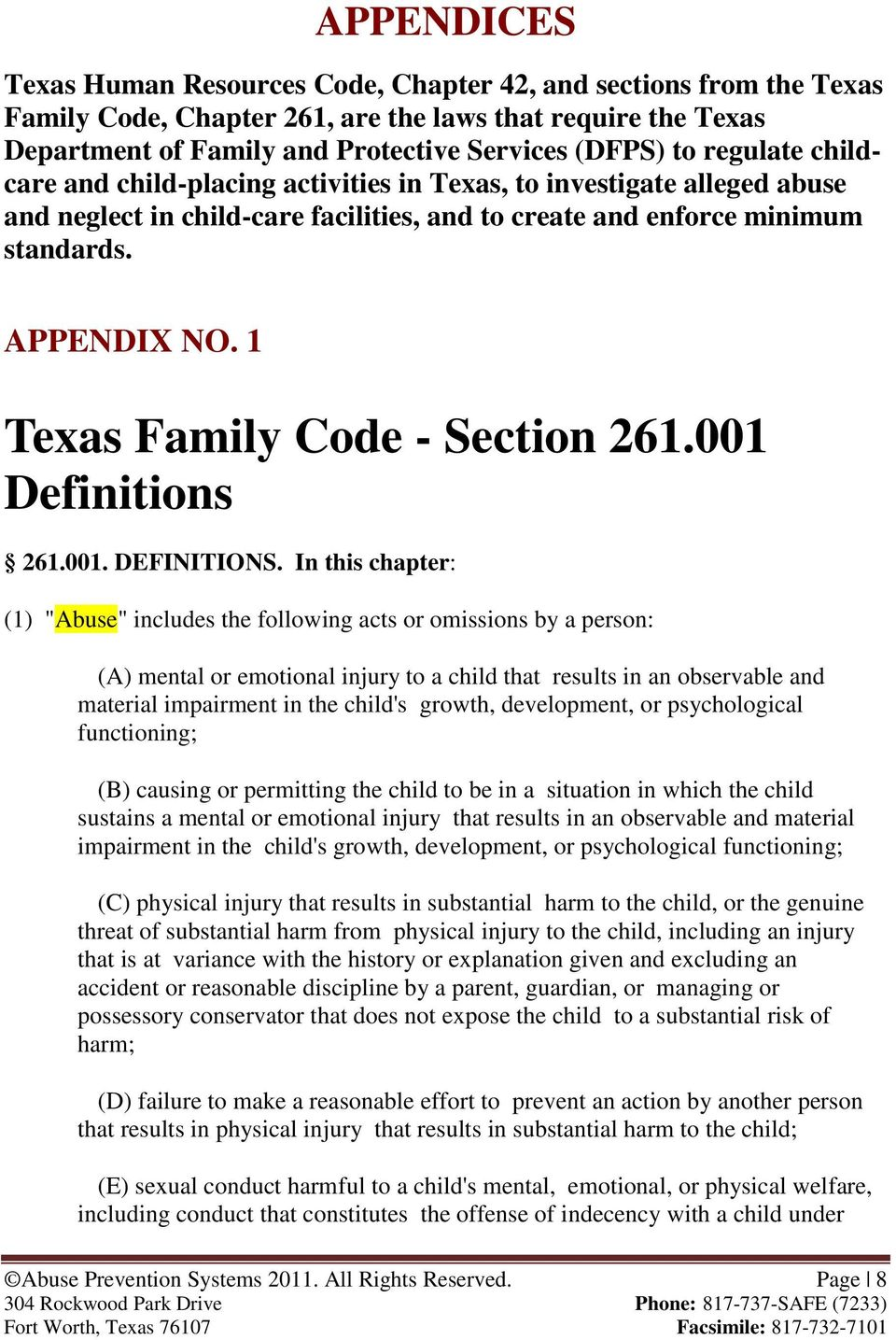 1 Texas Family Code - Section 261.001 Definitions 261.001. DEFINITIONS.