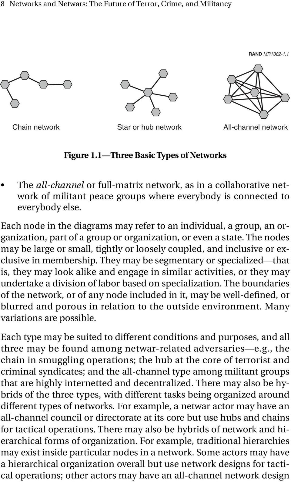 Each node in the diagrams may refer to an individual, a group, an organization, part of a group or organization, or even a state.