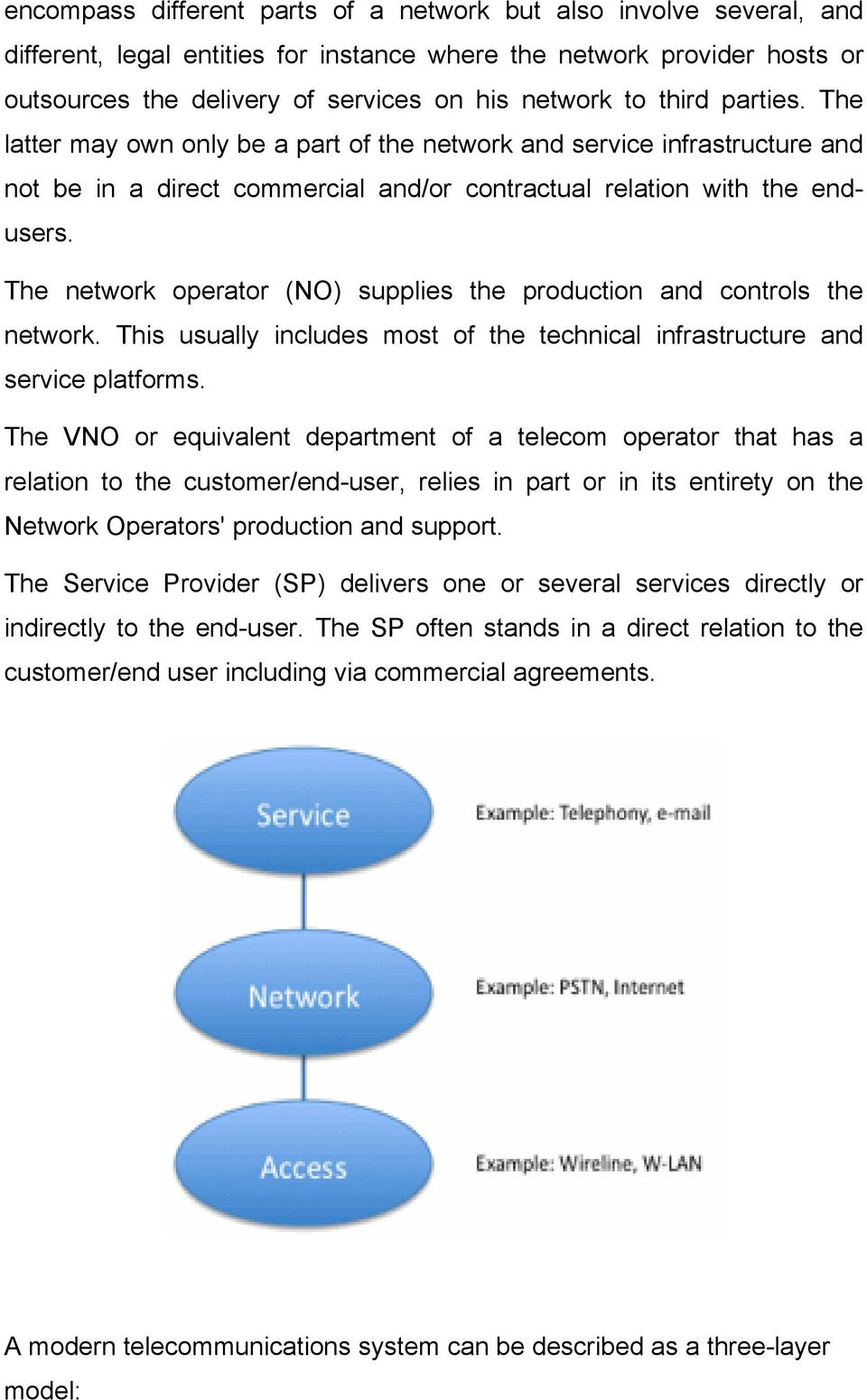 The network operator (NO) supplies the production and controls the network. This usually includes most of the technical infrastructure and service platforms.