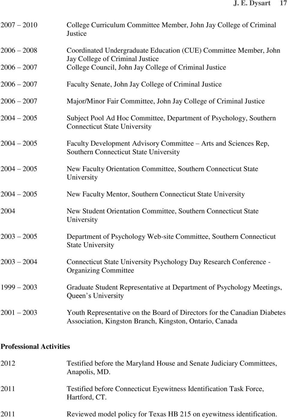 Criminal Justice 2004 2005 Subject Pool Ad Hoc Committee, Department of Psychology, Southern Connecticut State University 2004 2005 Faculty Development Advisory Committee Arts and Sciences Rep,