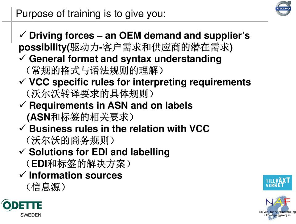 requirements ( 沃 尔 沃 转 译 要 求 的 具 体 规 则 ) Requirements in ASN and on labels (ASN 和 标 签 的 相 关 要 求 ) Business rules in the