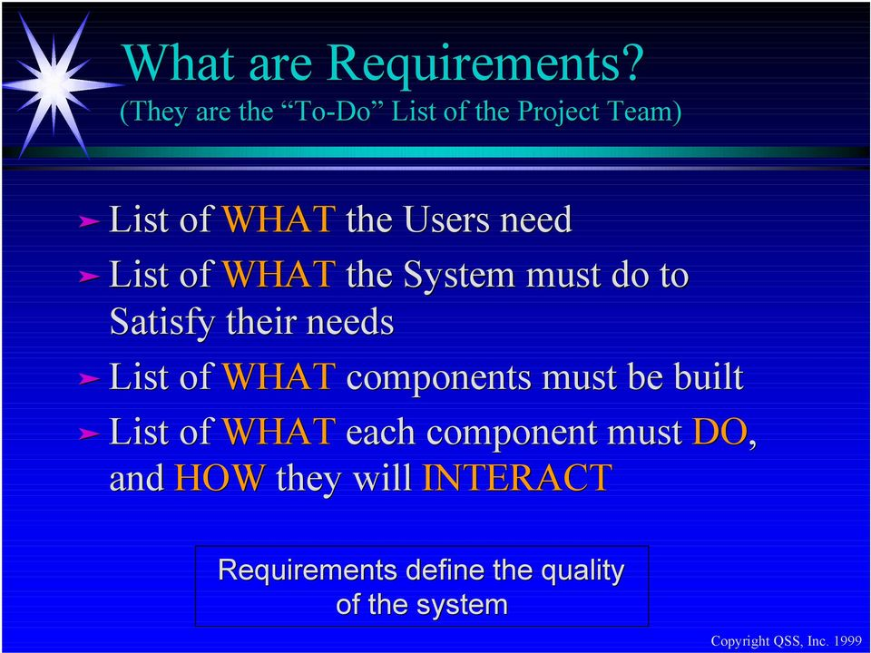 List of WHAT the System must do to Satisfy their needs List of WHAT