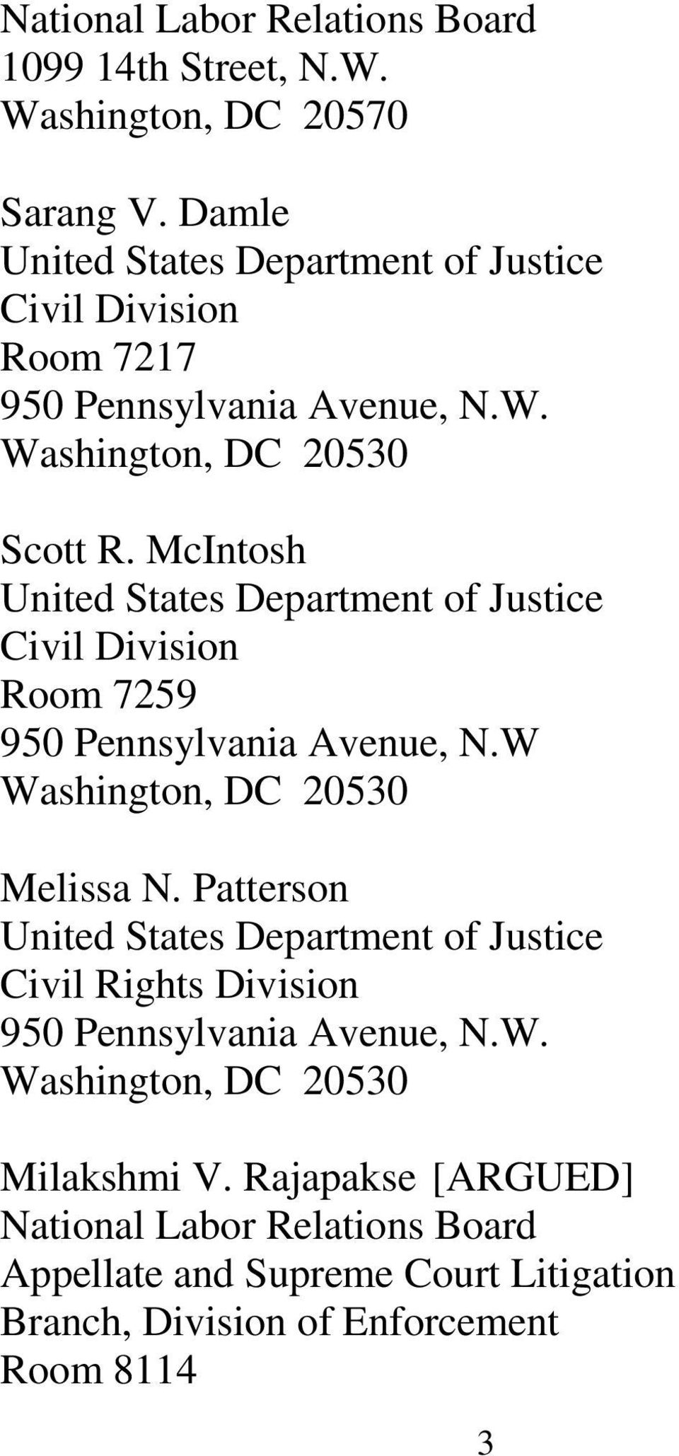 McIntosh United States Department of Justice Civil Division Room 7259 950 Pennsylvania Avenue, N.W Washington, DC 20530 Melissa N.
