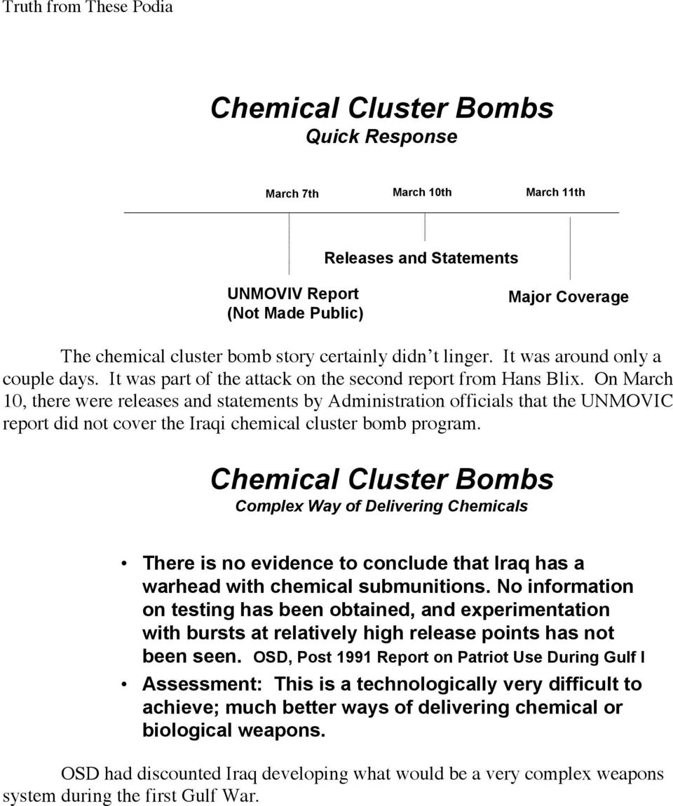 + 0ES7hM, '+D-'5 ()( *-5 8-G+' 5?+ M'#\) 8?+$)8#. 8.@A5+' 9-$9 D'-B'#$H Chemical Cluster Bombs Complex Way of Delivering Chemicals There is no evidence to conclude that Iraq has a warhead with chemical submunitions.