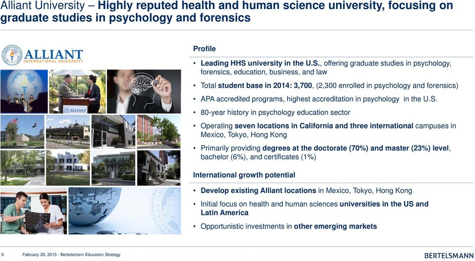 , offering graduate studies in psychology, forensics, education, business, and law Total student base in 2014: 3,700, (2,300 enrolled in psychology and forensics) APA accredited programs, highest