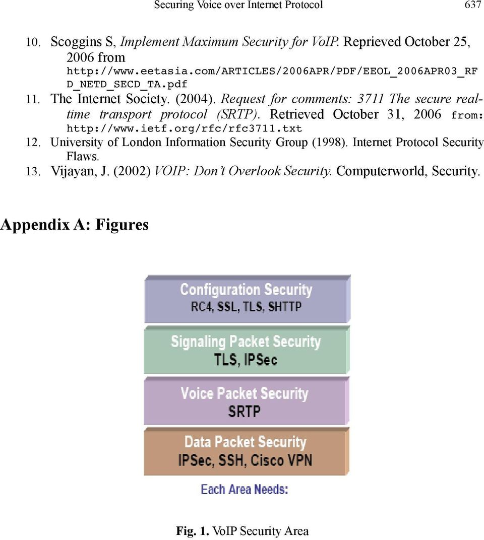 Request for comments: 3711 The secure realtime transport protocol (SRTP). Retrieved October 31, 2006 from: http://www.ietf.org/rfc/rfc3711.txt 12.