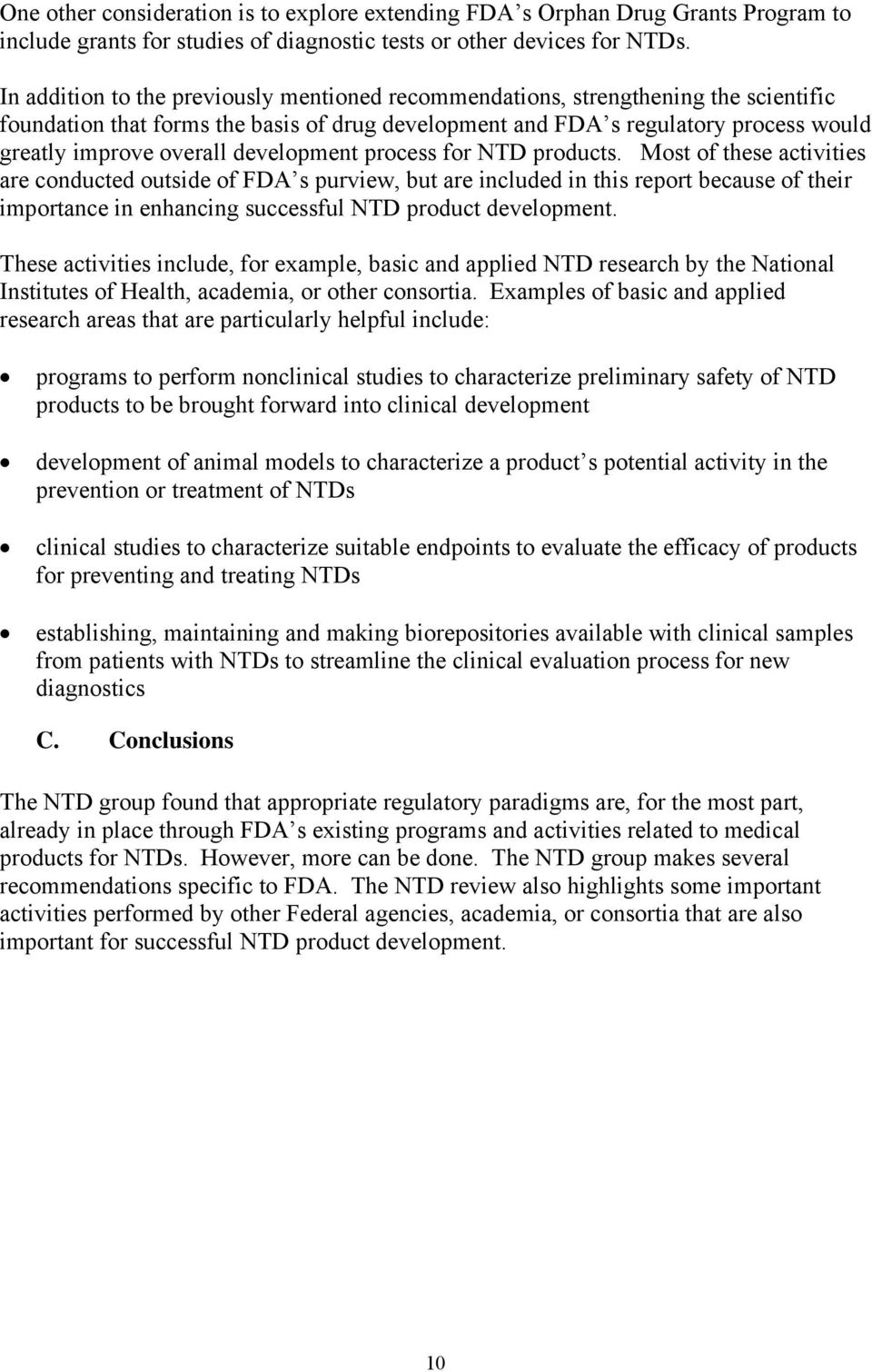 development process for NTD products.