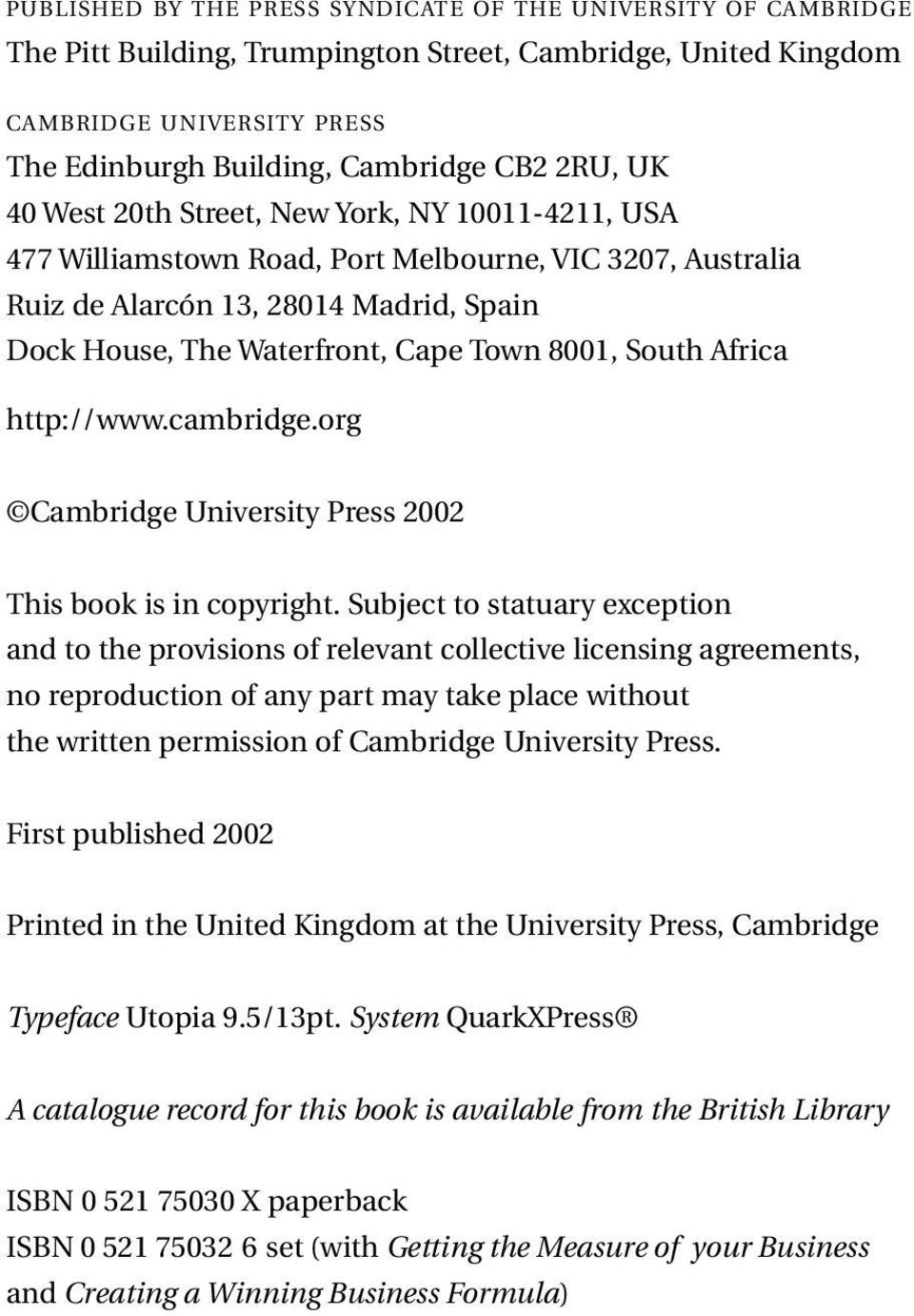 South Africa http://www.cambridge.org Cambridge University Press 2002 This book is in copyright.