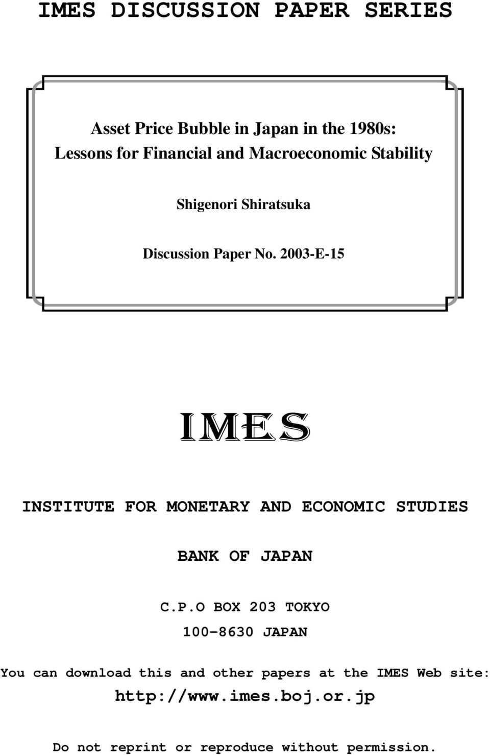 2003-E-15 INSTITUTE FOR MONETARY AND ECONOMIC STUDIES BANK OF JAPA