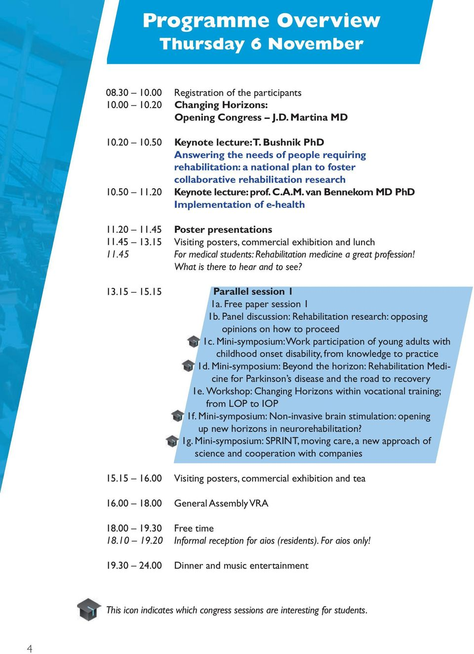 van Bennekom MD PhD Implementation of e-health 11.20 11.45 Poster presentations 11.45 13.15 Visiting posters, commercial exhibition and lunch 11.