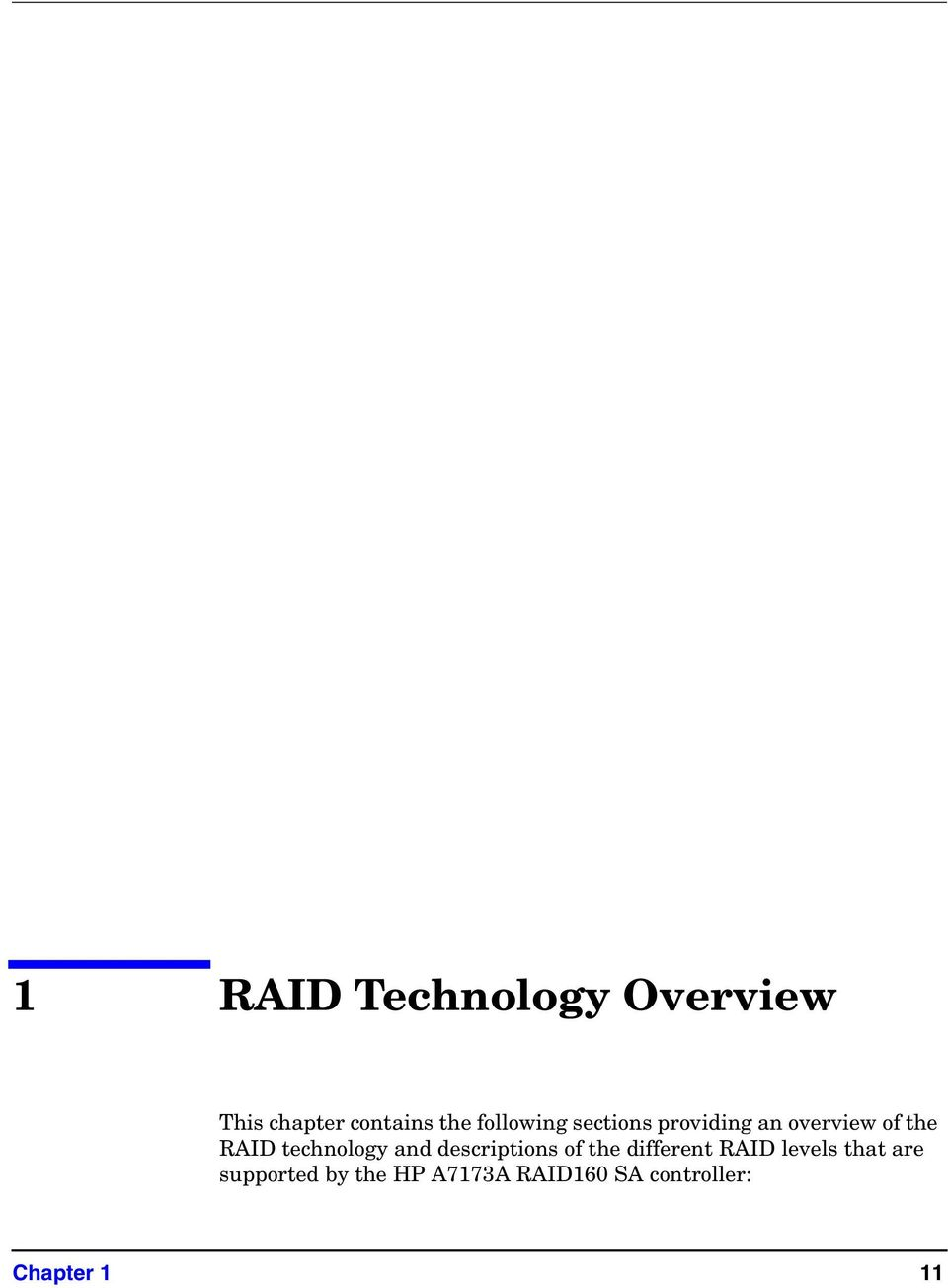 technology and descriptions of the different RAID levels