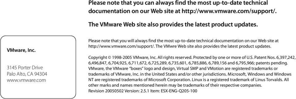 The VMwre Web site also provides the latest product updates. Copyright 1998-2005 VMware, Inc. All rights reserved. Protected by one or more of U.S. Patent Nos.