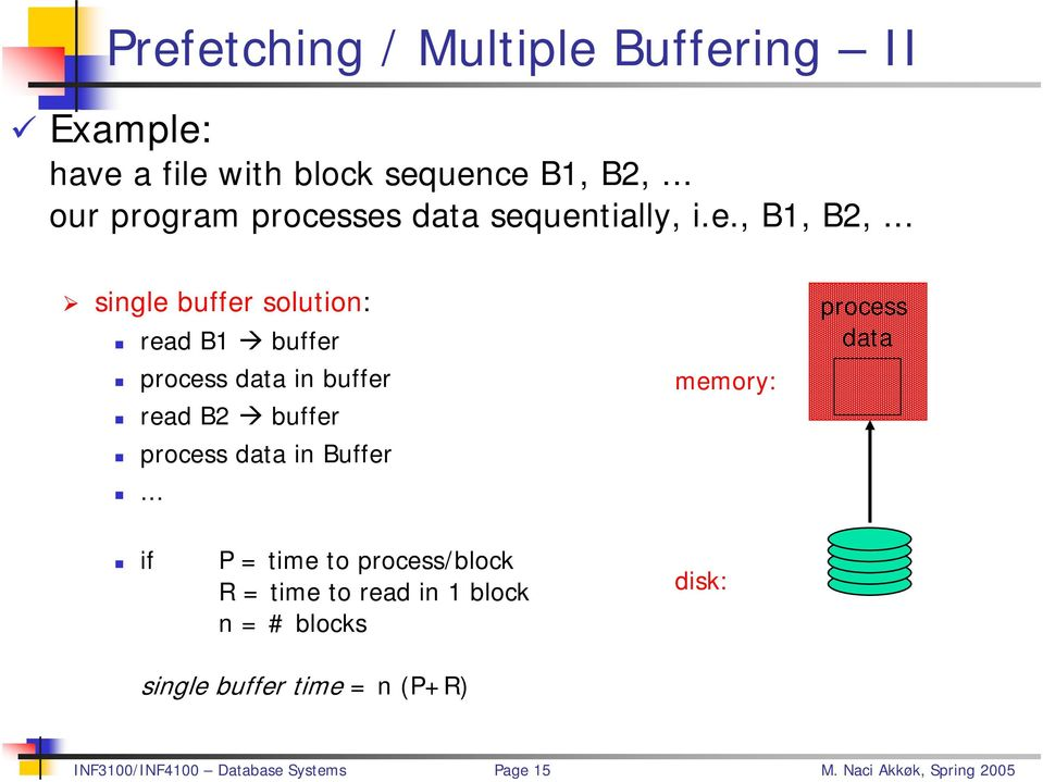 .. single buffer solution: read B1 buffer process data in buffer read B2 buffer process data in Buffer.