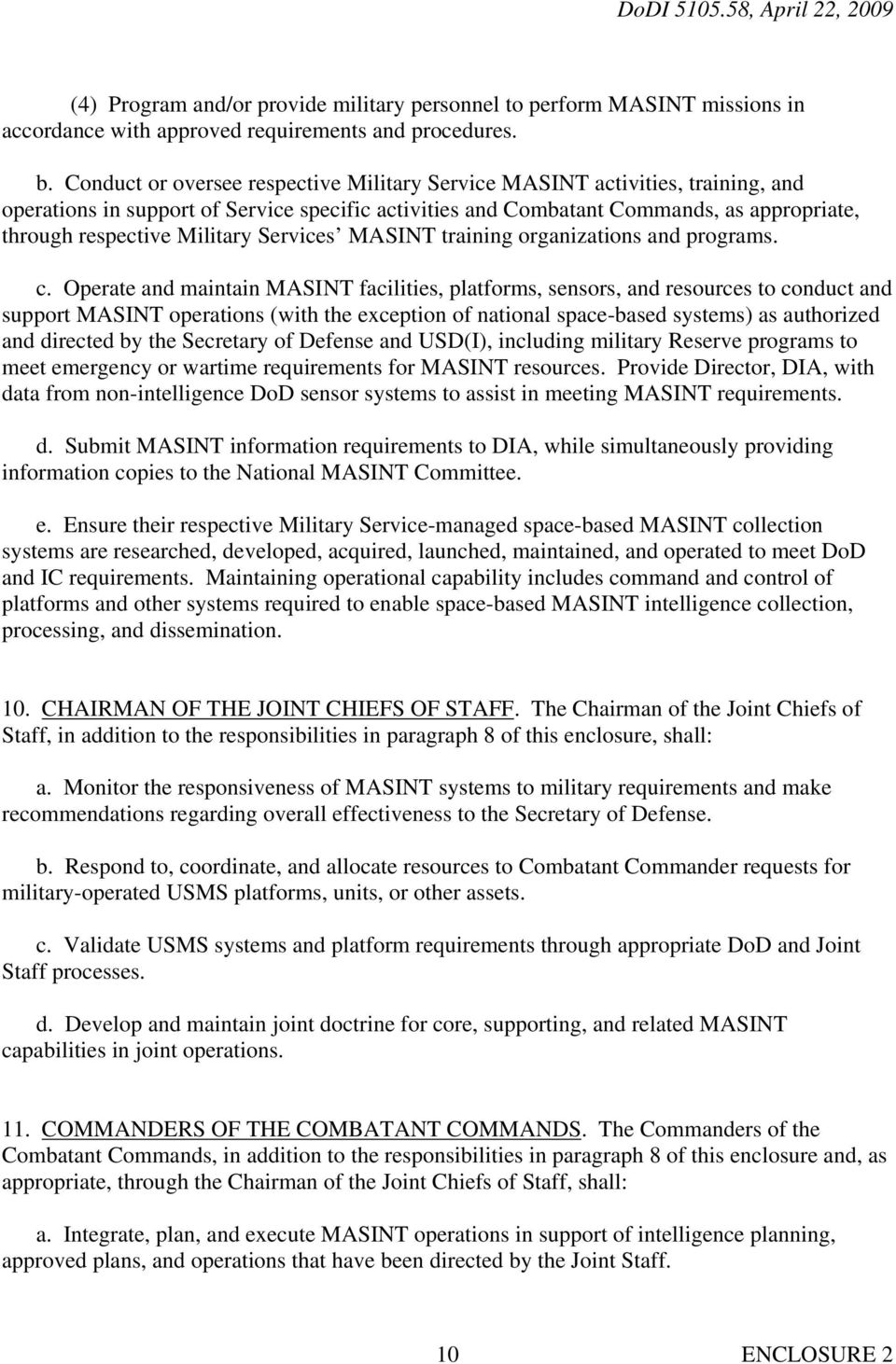 Military Services MASINT training organizations and programs. c.