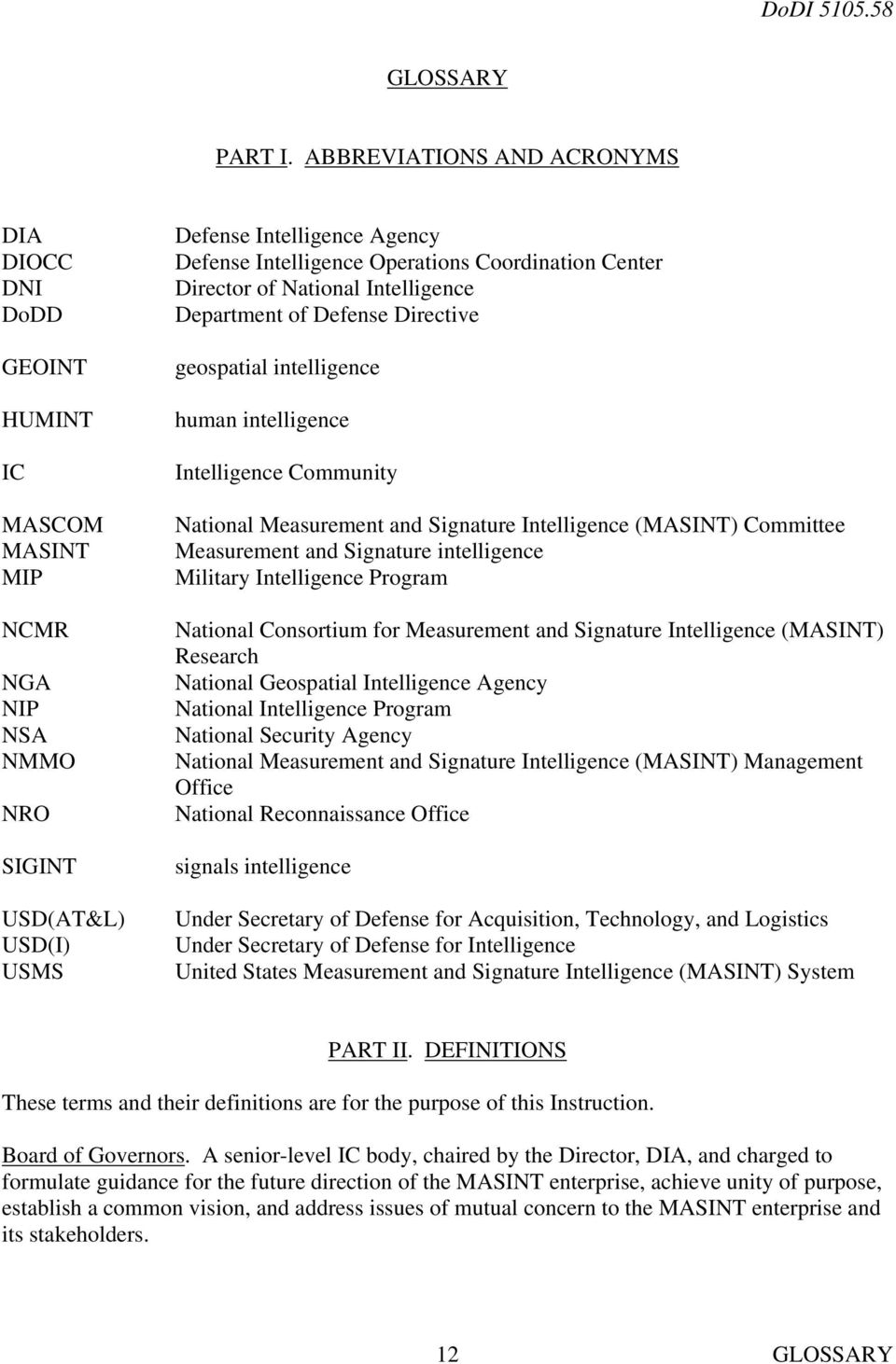 Coordination Center Director of National Intelligence Department of Defense Directive geospatial intelligence human intelligence Intelligence Community National Measurement and Signature Intelligence