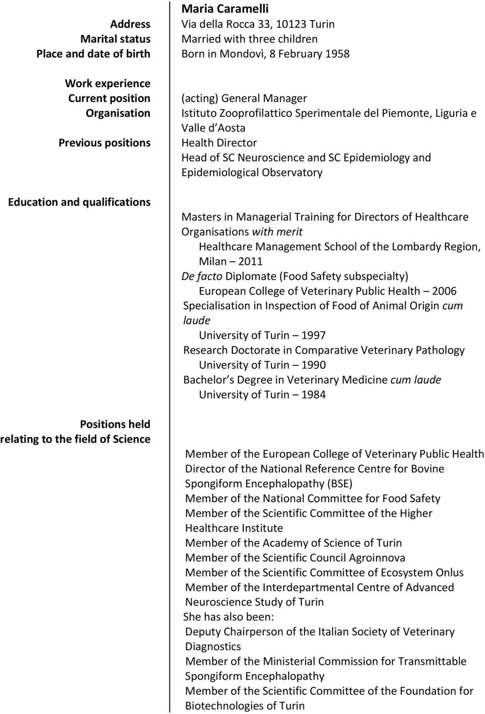 Valle d Aosta Health Director Head of SC Neuroscience and SC Epidemiology and Epidemiological Observatory Masters in Managerial Training for Directors of Healthcare Organisations with merit