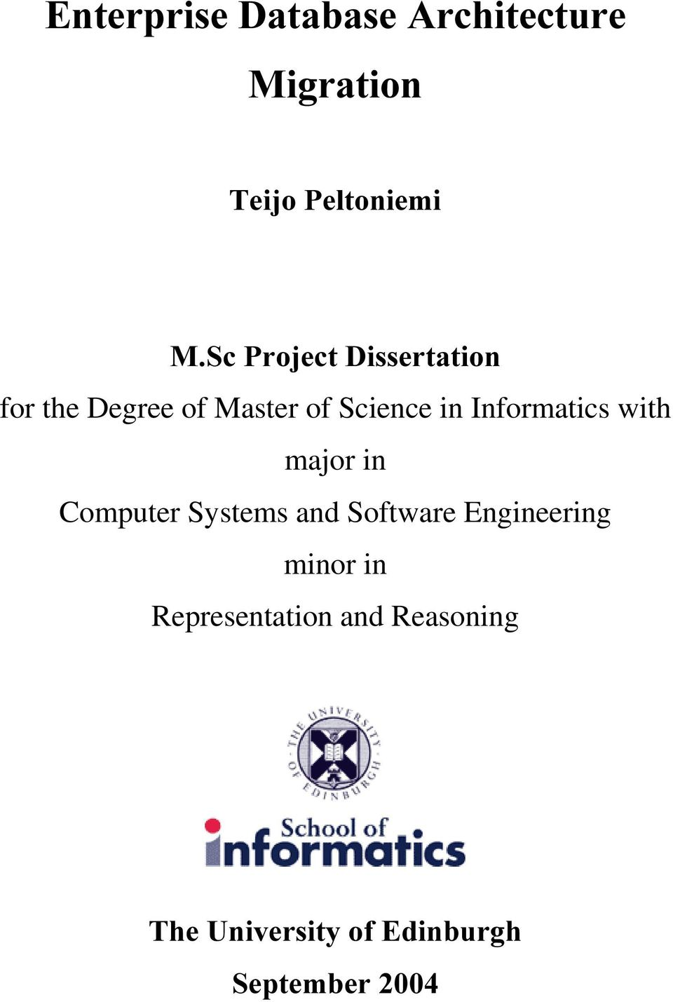 Informatics with major in Computer Systems and Software