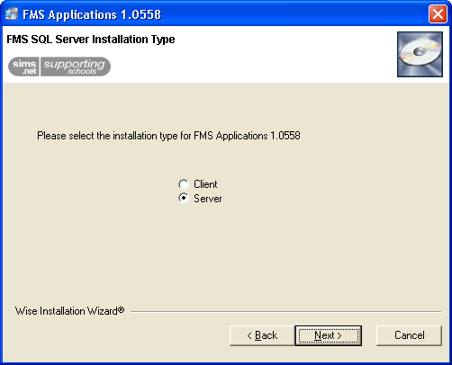 7. Select the appropriate radio button to indicate the type of machine you are installing on, i.e. Client or Server.