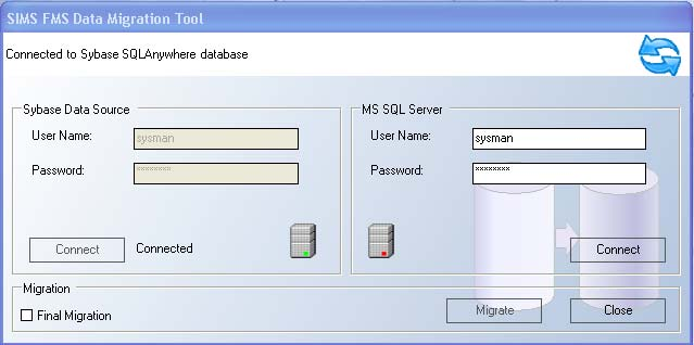 Select Start All Programs SIMS Applications FMSSQL FMSSQL Migration Utility. 2.