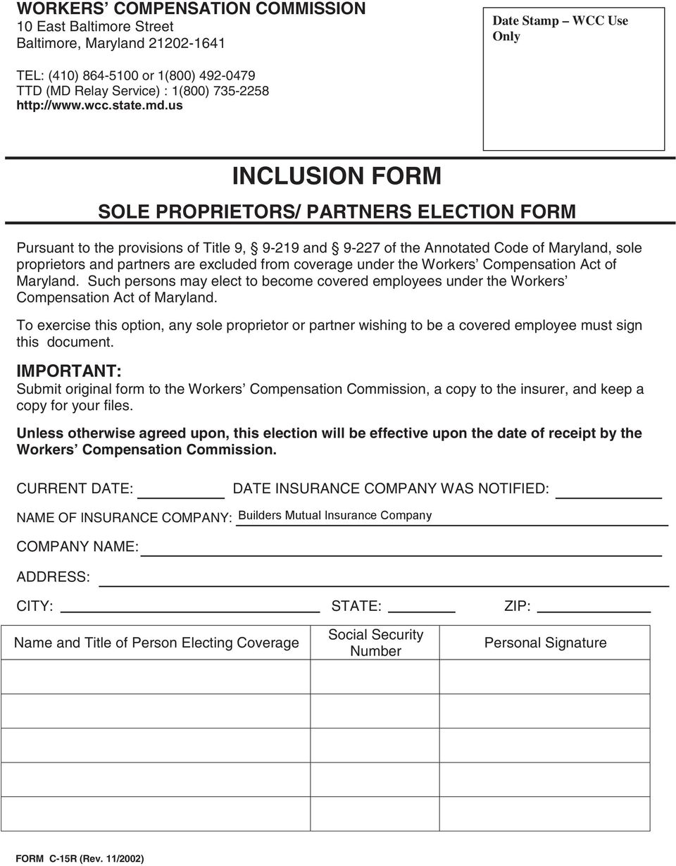 us INCLUSION FORM SOLE PROPRIETORS/ PARTNERS ELECTION FORM Pursuant to the provisions of Title 9, 9-219 and 9-227 of the Annotated Code of Maryland, sole proprietors and partners are excluded from