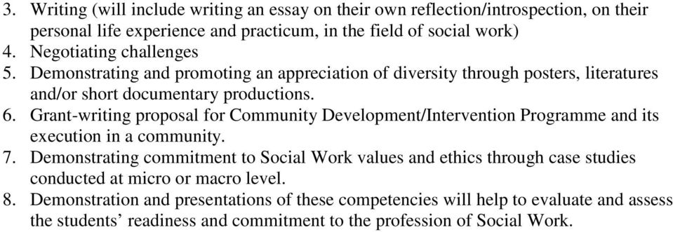 Grant-writing proposal for Community Development/Intervention Programme and its execution in a community. 7.