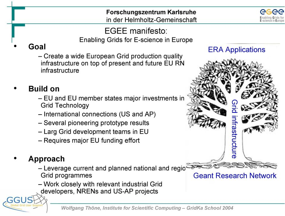 pioneering prototype results Larg Grid development teams in EU Requires major EU funding effort Approach EGEE Leverage current and planned national and