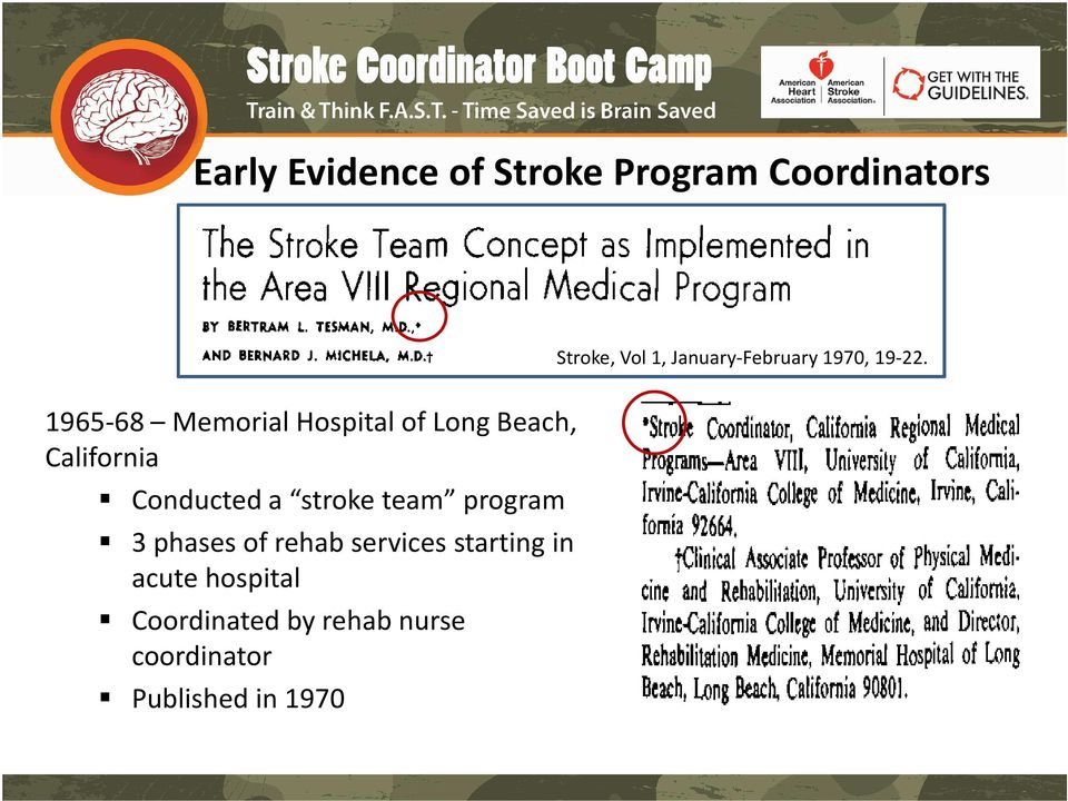 1965-68 Memorial Hospital of Long Beach, California Conducted a stroke