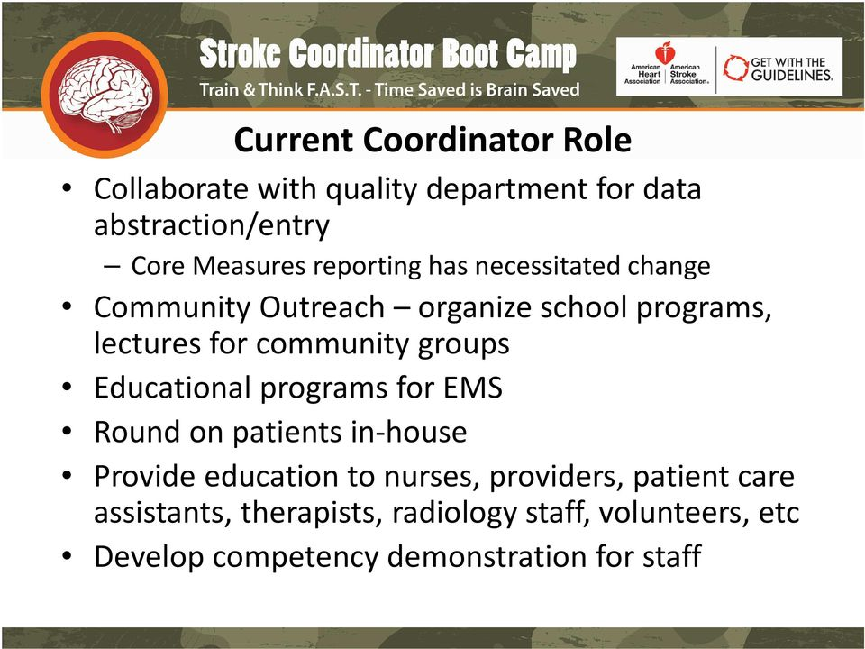 groups Educational programs for EMS Round on patients in-house Provide education to nurses, providers,