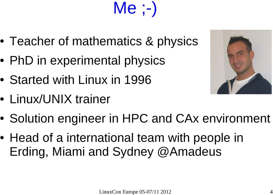 engineer in HPC and CAx environment Head of a international team
