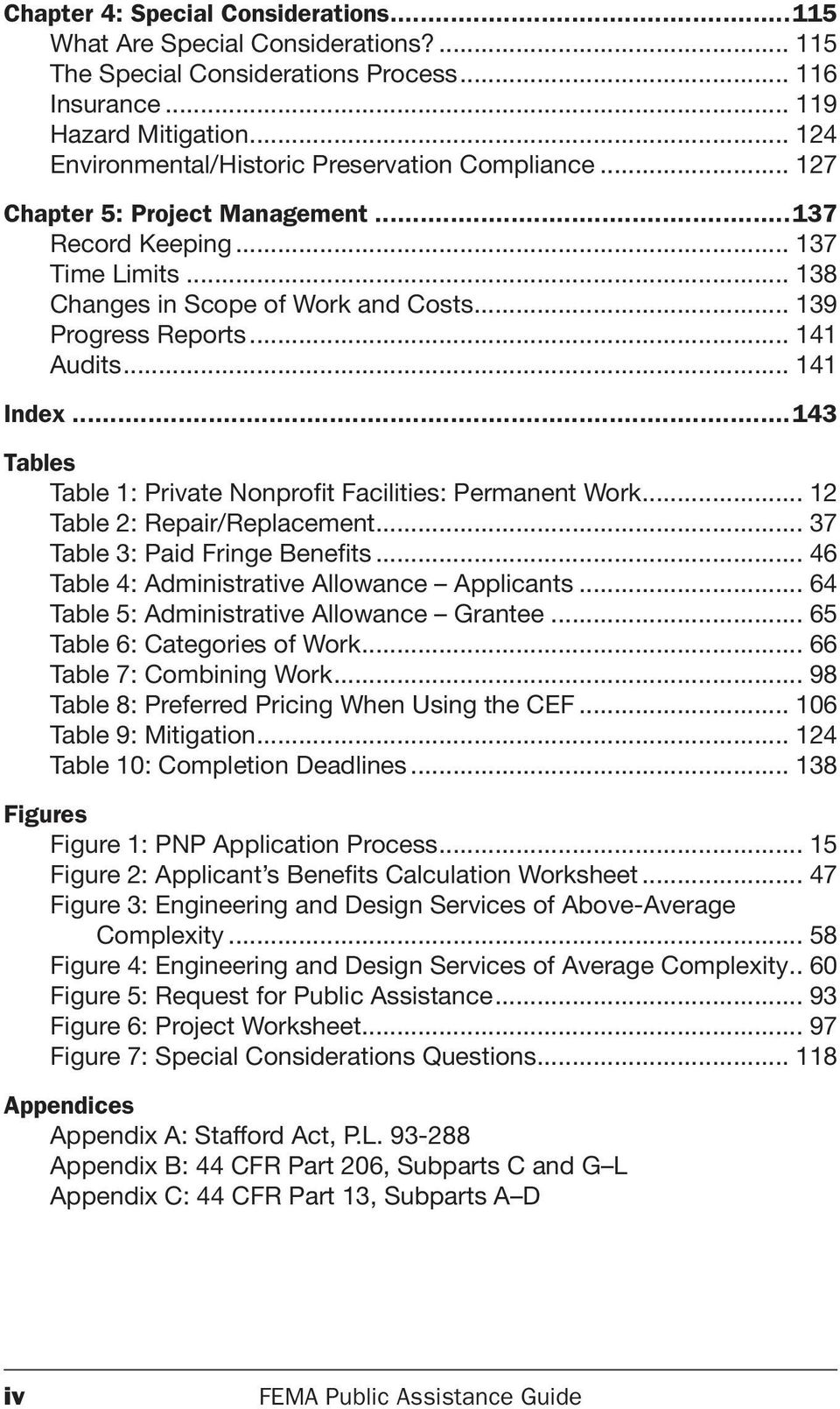 .. 141 Audits... 141 Index...143 Tables Table 1: Private Nonprofit Facilities: Permanent Work... 12 Table 2: Repair/Replacement... 37 Table 3: Paid Fringe Benefits.