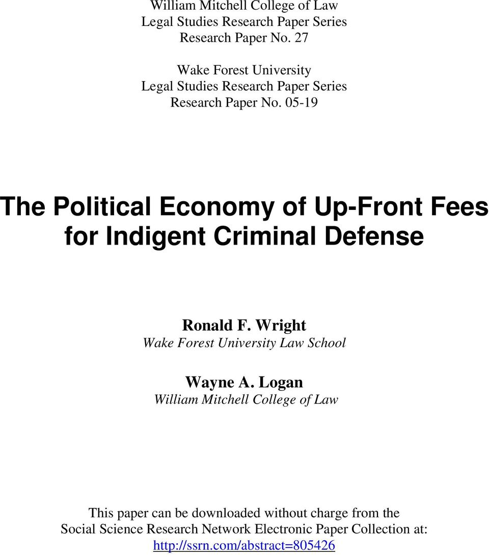 05-19 The Political Economy of Up-Front Fees for Indigent Criminal Defense Ronald F.