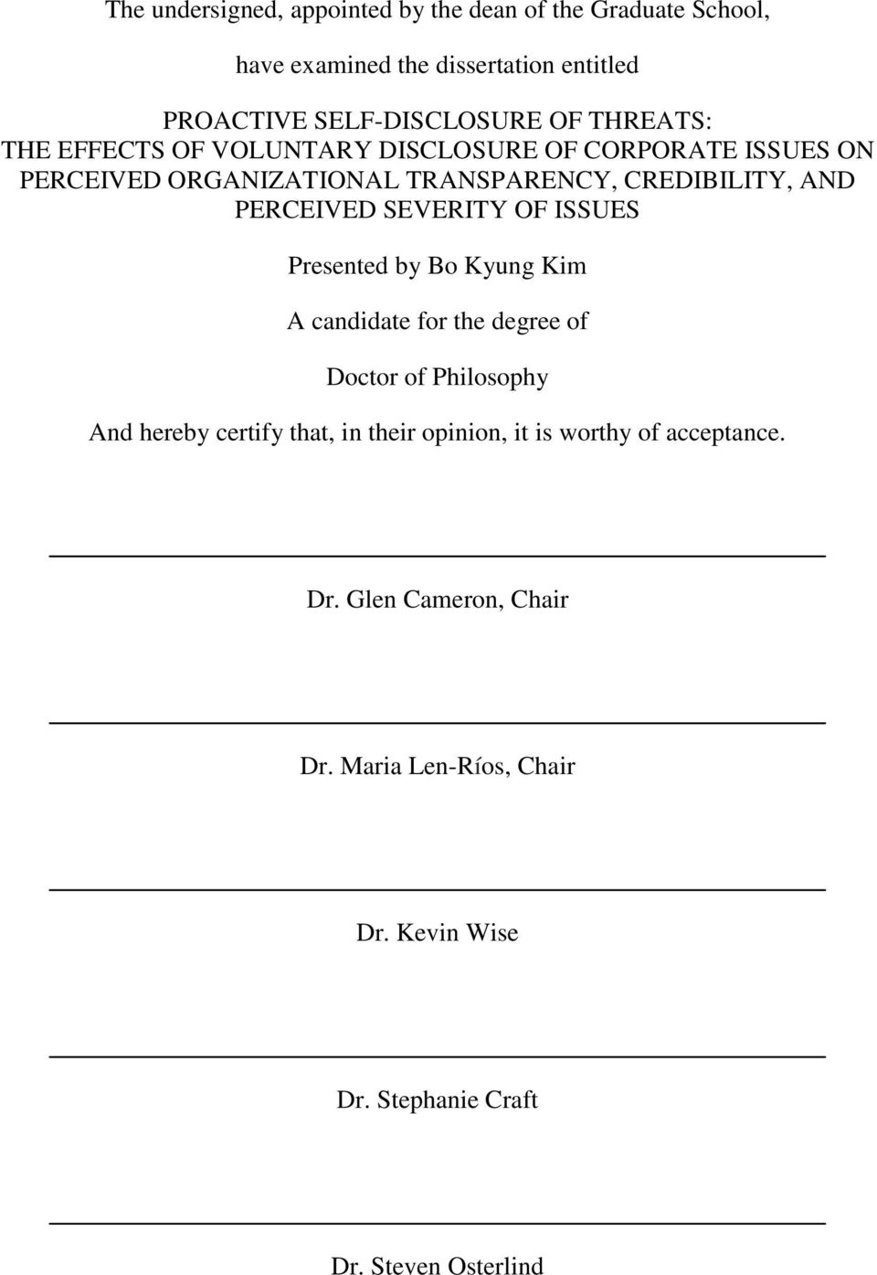 SEVERITY OF ISSUES Presented by Bo Kyung Kim A candidate for the degree of Doctor of Philosophy And hereby certify that, in their